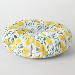 watercoor yellow lemon pattern Floor Pillow