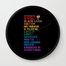 Science Is Real Black Lives Matter LGBT BLM Fist Wall Clock