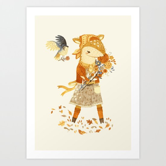 Dakota the Daisy Deer Art Print