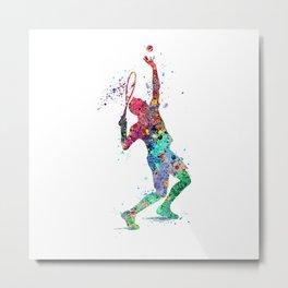Tennis Player Colorful Watercolor Sports Art Metal Print