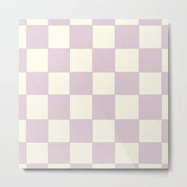 Lilac Check Pattern Metal Print