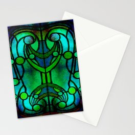 Green and Aqua Art Nouveau Stained Glass Art Stationery Cards