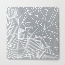 Abstract Half and Half 45 Grey Metal Print