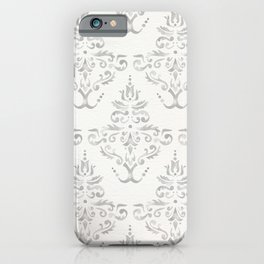Hand Painted Watercolor Damask Pattern - Light Neutral Gray iPhone Case