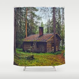 Mossy Cabin Getaway Shower Curtain