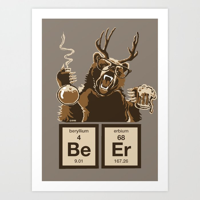Funny chemistry bear discovered beer Kunstdrucke