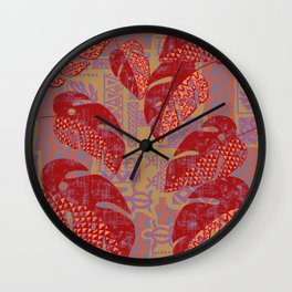 Hawaiian Lava Leaves Tapa Print Wall Clock