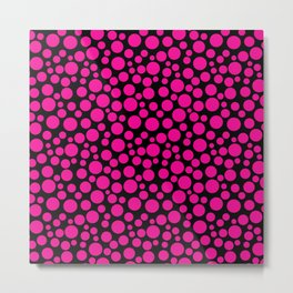 Black and pink polka dot pattern . Metal Print