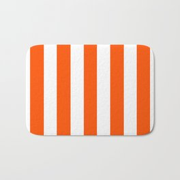 International orange (aerospace) - solid color - white vertical lines pattern Bath Mat