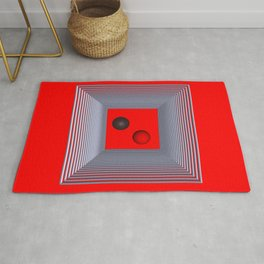 geometry on red background -3- Rug