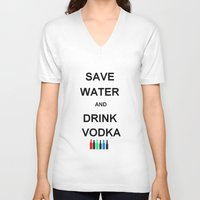 vodka V-neck T-shirts featuring Drink Vodka by Lyre Aloise
