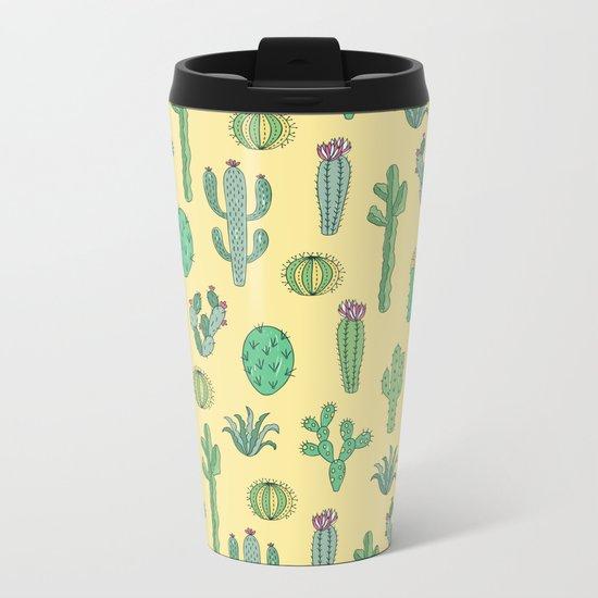 Cactus Pattern Yellow Metal Travel Mug