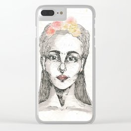 Flowered Gold Clear iPhone Case