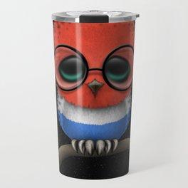 Baby Owl with Glasses and Dutch Flag Travel Mug