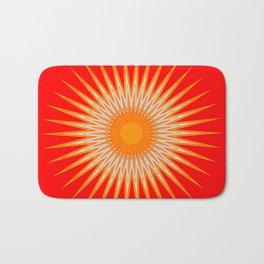 Vibrant Red Sun Mandala Badematte