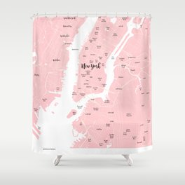 New York Map in the Eyes of a Girl who loves Calligraphic fonts Shower Curtain