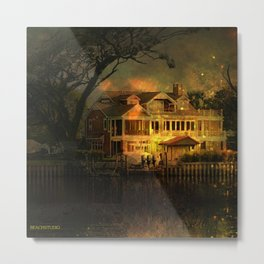Spooky Boathouse Metal Print