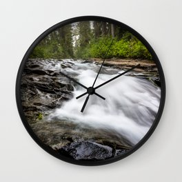 Rush - Paradise River Rushes to Falls in Mt. Rainier National Park Wall Clock
