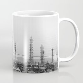 Electricity Pylons. Japan. Black and White. Urban Travel Print - Photography Wall Art. Coffee Mug
