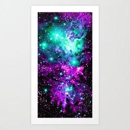 Fox Fur Nebula Teal Pink Purple Art Print