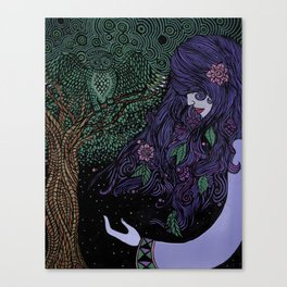 Purpled Haired Girl Canvas Print
