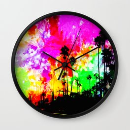 palm tree at the California beach with colorful painting abstract background Wall Clock