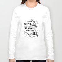 camus Long Sleeve T-shirts featuring Albert Camus - In the Midst of Winter by Amber Serene
