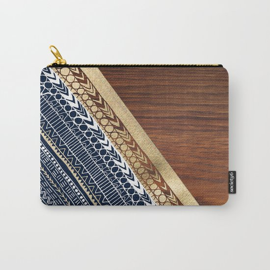 Navy & Gold Tribal on Wood Carry-All Pouch