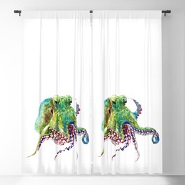 Olive Green Octopus Blackout Curtain