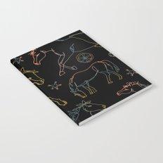 Galloping Horses, Rainbow Gradient on Black Notebook