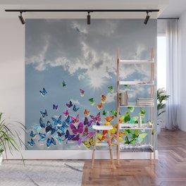 Butterflies in blue sky Wall Mural