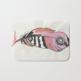 Pink and Orange Feather Bath Mat