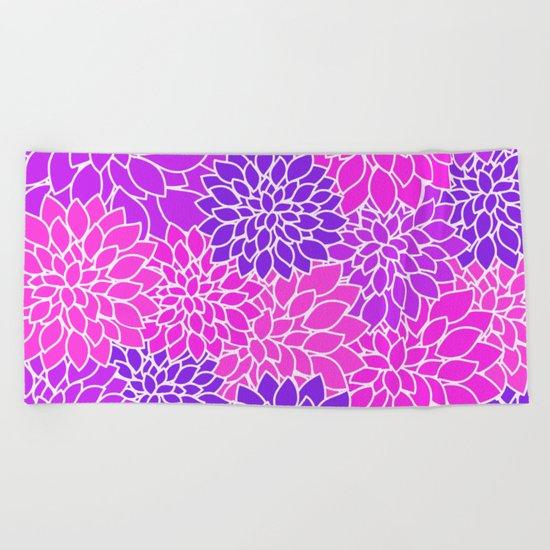 Shades Of Purple - Bright Floral Pattern - Flower Art Beach Towel