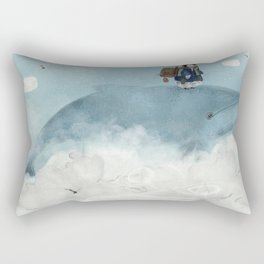 the little explorer and the big blue whale Rectangular Pillow