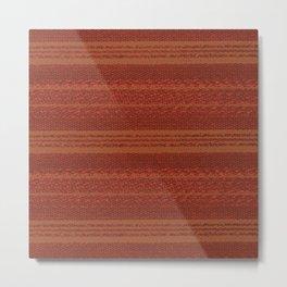 Big Stich Terracotta Brown - Knitting Fabric Art Metal Print