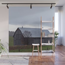 Barn and the Cattle on the hill Wall Mural