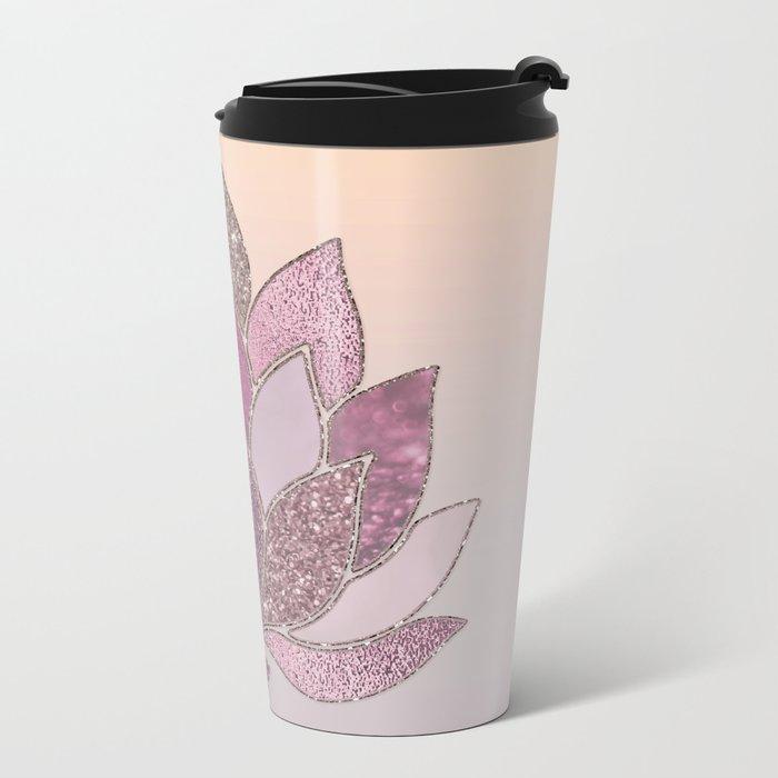 Elegant Glamorous Pink Rose Gold Lotus Flower Metal Travel Mug