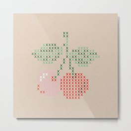 Cherry cross stitch Metal Print