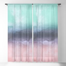 Modern watercolor abstract paint Sheer Curtain