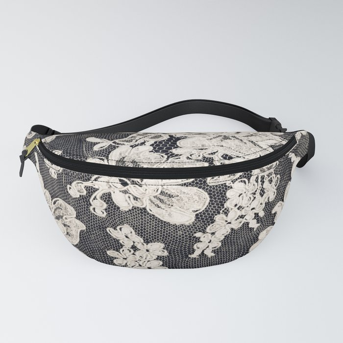 black and white lace- Photograph of vintage lace Fanny Pack