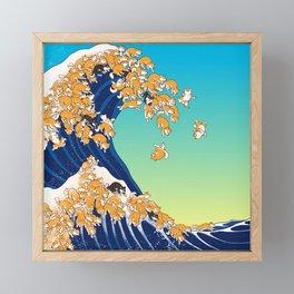 Shiba Inu in Great Wave Framed Mini Art Print