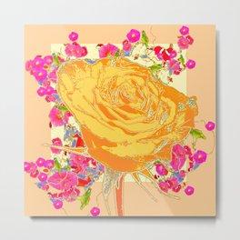 CORAL COLOR ART &  ORANGE ROSE PINK  FLOWERS  DESIGN Metal Print