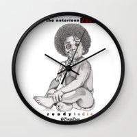 notorious big Wall Clocks featuring Notorious BIG - Ready To Die ZingaZooo Remix by ZingaZooo