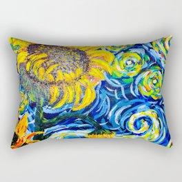 Gorgeous Blue and Yellow Van Gogh Sunflowers Rectangular Pillow