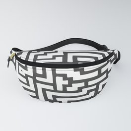 White and Dark Grey Maze Pattern Fanny Pack