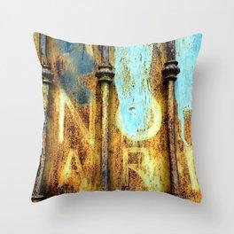 rusty metal gate Throw Pillow