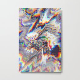 Abstract Marble Glitch Metal Print