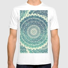 BICOLOR COLD WINTER MANDALA White MEDIUM Mens Fitted Tee