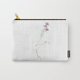 Sweet Pea, Drawing of Legs, Flowers, Curves, Purple, Art, Wall Art, Buy Art, Contour Lines, Abstract Carry-All Pouch