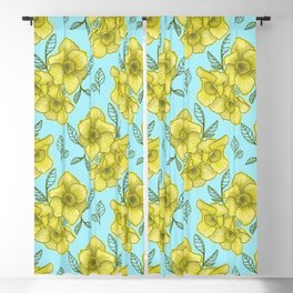 daffodil with light blue background Blackout Curtain